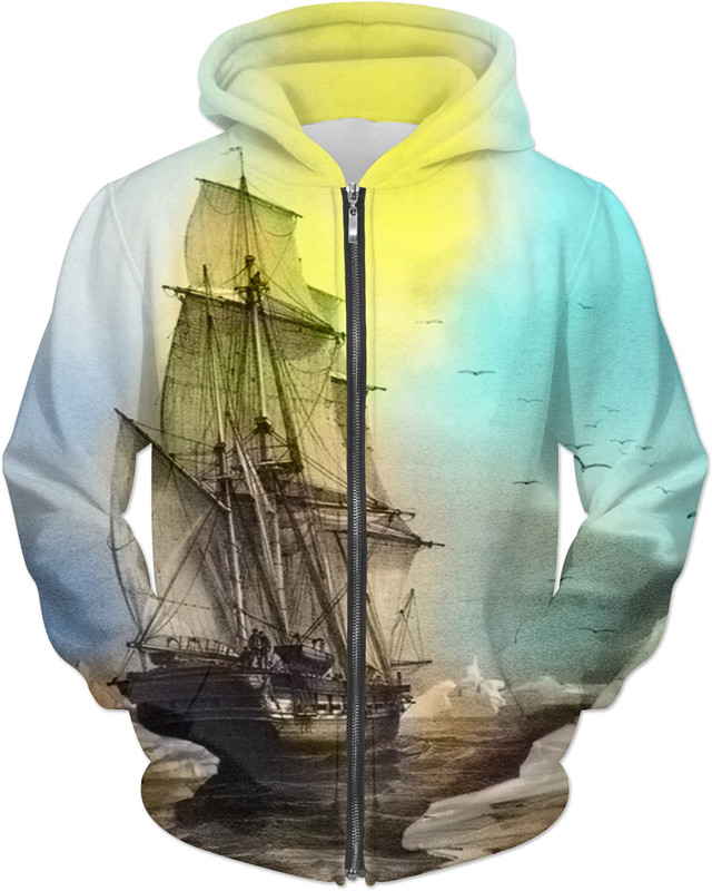 Sailing on Memory Bliss . ALL OVER Printed Jacket Hoodie